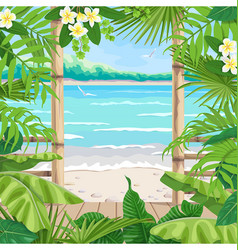 Tropical background with terrace on seaside vector