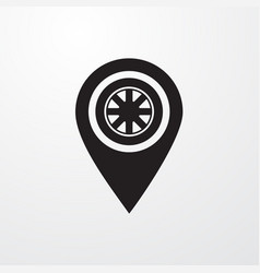 Tyre with pin icon for web and mobile vector