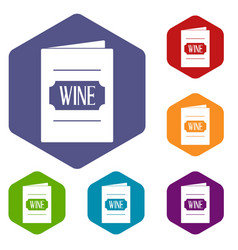 Wine list icons set hexagon vector
