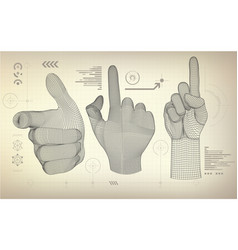 Wireframe hand vector