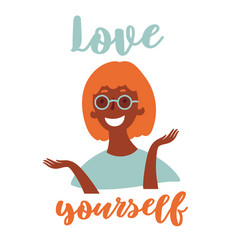 young black girl in eyeglasses love yourself vector image