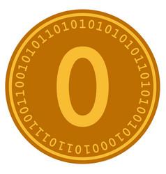 zero digital coin flat icon vector image
