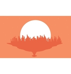 Beautiful silhouette city and big moon vector image vector image