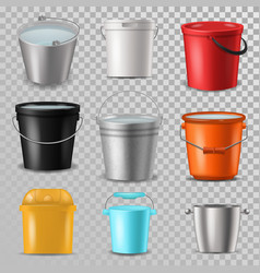 bucket bucketful and bitbucket plastic pail vector image