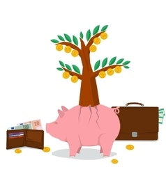 Concept money saving - pig tree vector image vector image
