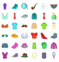 different clothes icons set cartoon style vector image