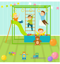 Kids playroom with light furniture decor vector