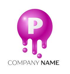 p letter splash logo purple dots and bubbles vector image