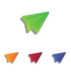 Paper airplane sign Colorfull applique icons set vector image vector image