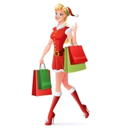 pretty woman in Santa outfit shopping and vector image vector image