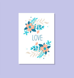 romantic greeting card with the inscription love vector image vector image