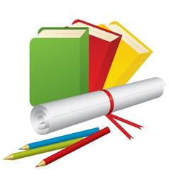 3d school supplies vector image vector image