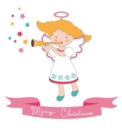 Christmas card with little angel vector image vector image