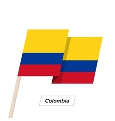 Colombia Ribbon Waving Flag Isolated on White vector image vector image