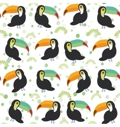 Cute Cartoon toucan birds set on white background vector image vector image
