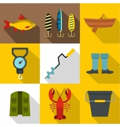 Fishing sport icons set flat style vector image vector image