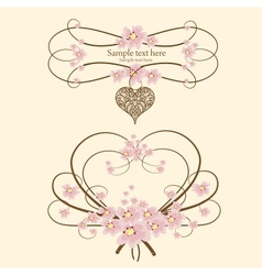 Ornamental frame heart with place for your text vector image vector image