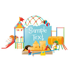 paper template with kids at playground vector image
