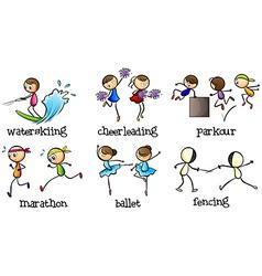 Six different activities vector image