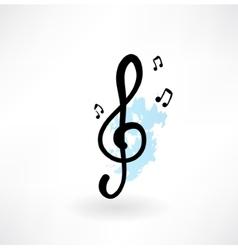 treble clef grunge icon vector image vector image