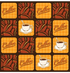 coffee beans and cups vector image vector image
