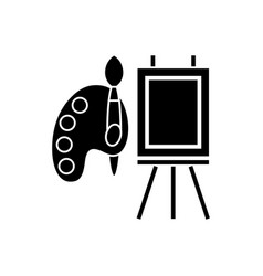 molbert and palette with brush icon vector image