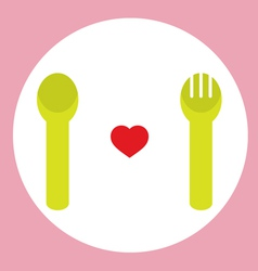Red Heart With Spoon And Fork vector image