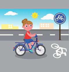 biker girl on bicycle lane vector image