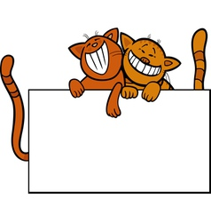 cartoon cats with board or card vector image vector image