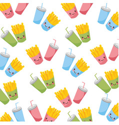 cartoon fries french and soda fast food seamless vector image