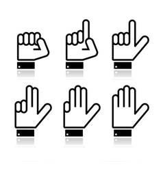 Counting hand signs - isolated on white vector image vector image