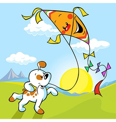 dog with kite vector image