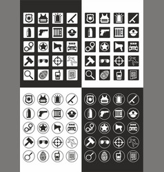 Flat police and justice icons set vector