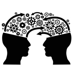head communication with gears vector image vector image