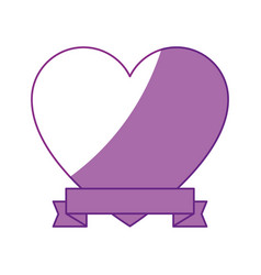 heart and ribbon icon vector image vector image