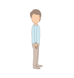 Light color caricature faceless full body youn guy vector