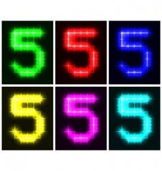 number 5 symbols vector image vector image