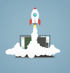 Start up laptop project vector image vector image
