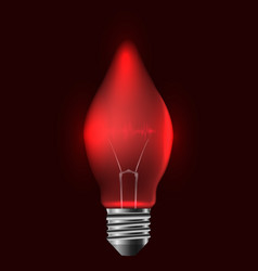 a realistic red bulb with pulse garland vector image