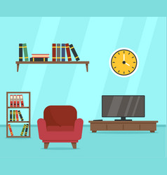 armchair in read room concept background flat vector image