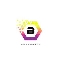 b colorful hexagon shaped letter logo design vector image