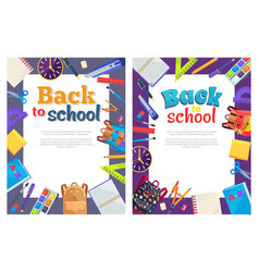 back to school poster with place for text in frame vector image