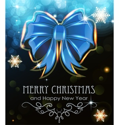 Blue Christmas bow on holiday background vector image