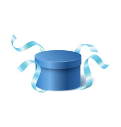 blue opened 3d realistic round gift box with vector image