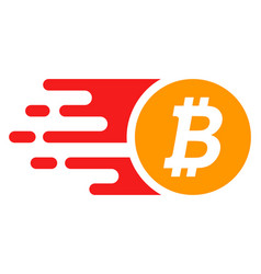 Bright btc coin with fast speed effect vector