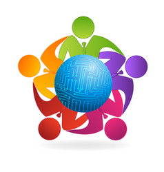 business leaders team together icon logo vector image