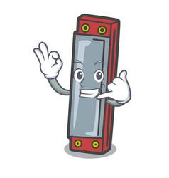 Call me harmonica mascot cartoon style vector