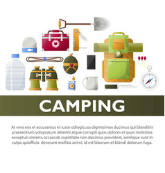 Camp poster of camping tools vector