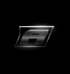 Carbon speed letter a logo dark matte metal vector