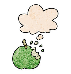 Cartoon bitten apple and thought bubble in grunge vector